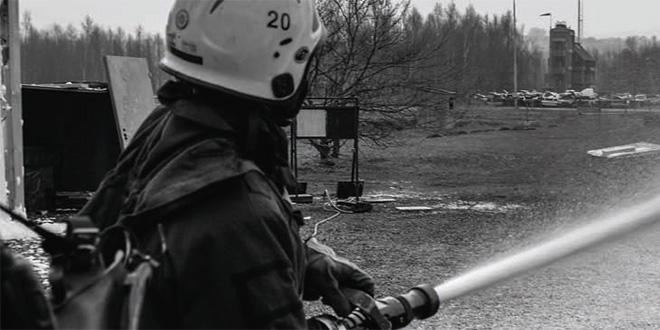 Deltidsbrandmän övar i Revinge